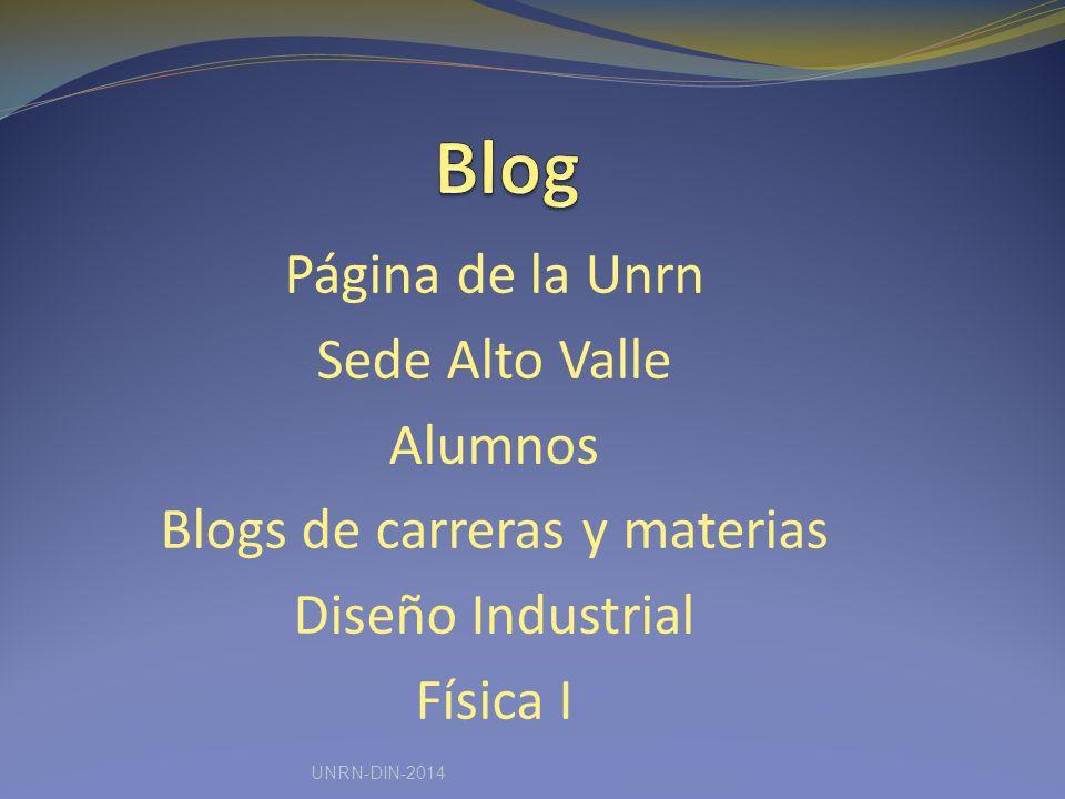 Página de la Unrn Sede Alto Valle Alumnos Blogs de carreras y materias Diseño Industrial Física I UNRN-DIN-2014