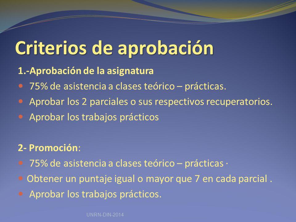 Criterios de aprobación 1.-Aprobación de la asignatura 75% de asistencia a clases teórico – prácticas.