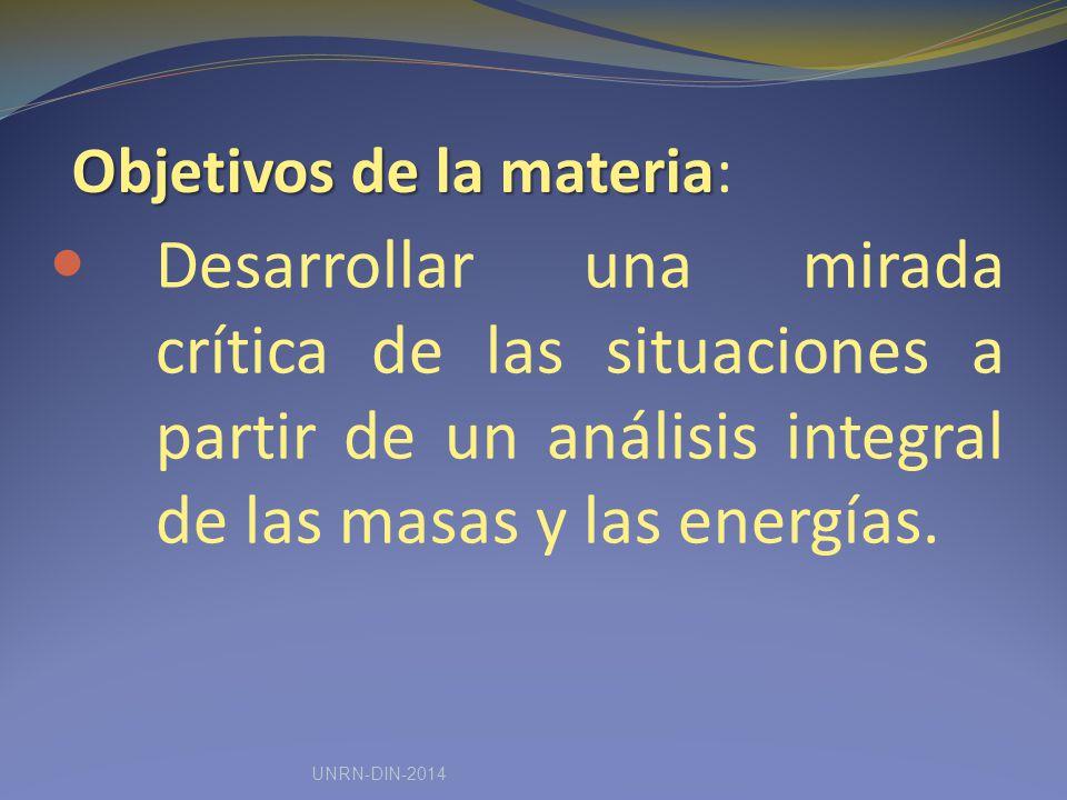 Objetivos de la materia Objetivos de la materia: Desarrollar una mirada crítica de las situaciones a partir de un análisis integral de las masas y las energías.