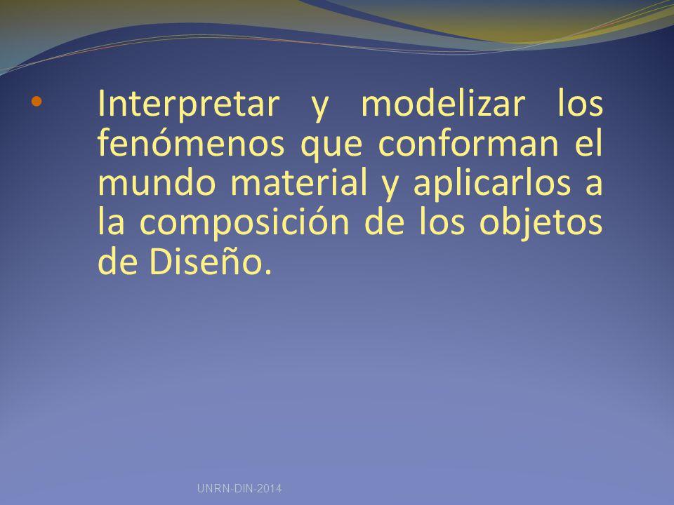 Interpretar y modelizar los fenómenos que conforman el mundo material y aplicarlos a la composición de los objetos de Diseño.