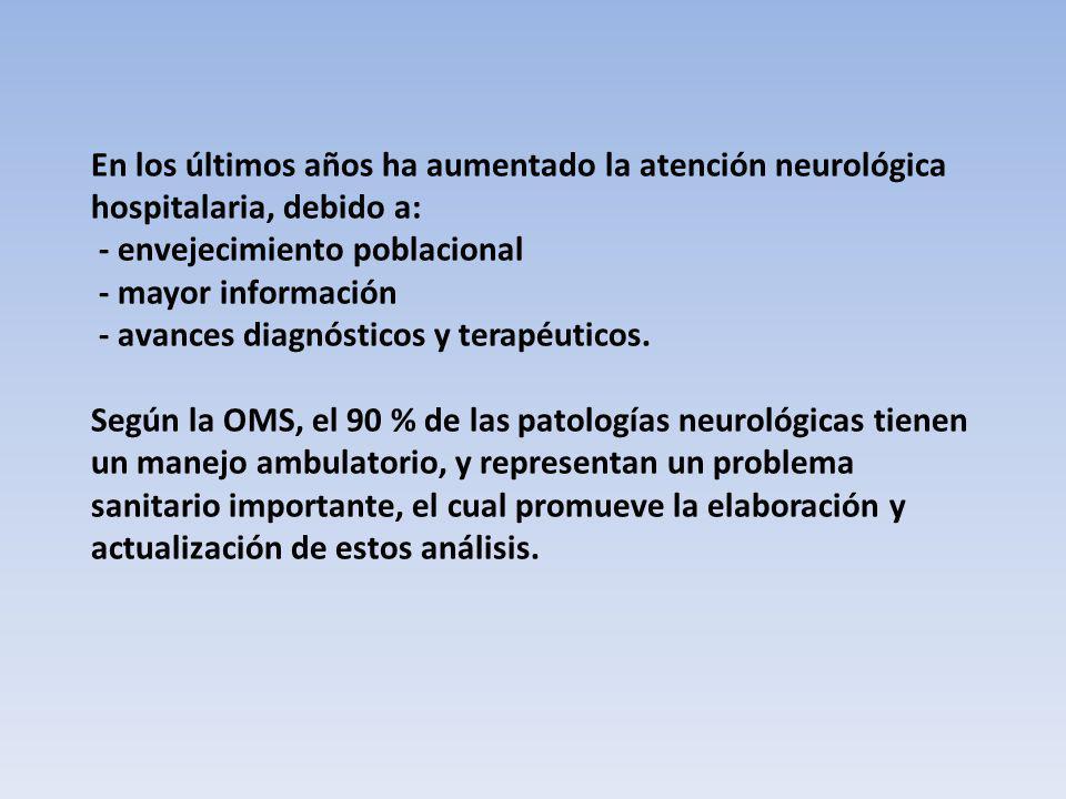 En los últimos años ha aumentado la atención neurológica hospitalaria, debido a: - envejecimiento poblacional - mayor información - avances diagnóstic