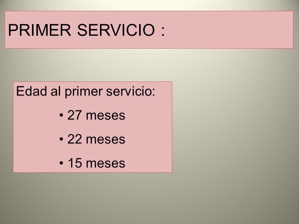 PRIMER SERVICIO : Edad al primer servicio: 27 meses 22 meses 15 meses
