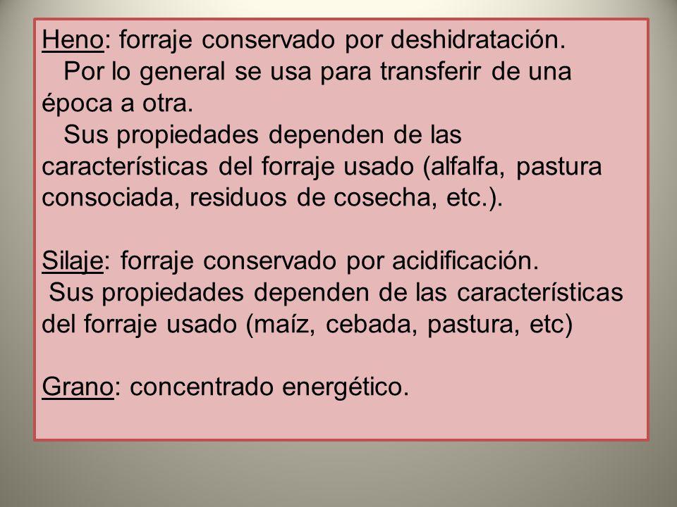Heno: forraje conservado por deshidratación.