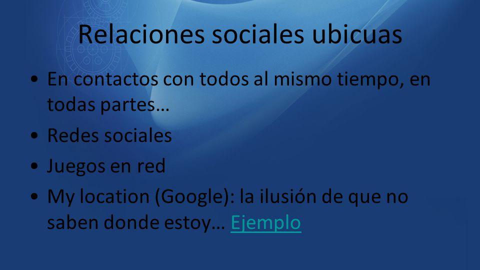 Relaciones sociales ubicuas En contactos con todos al mismo tiempo, en todas partes… Redes sociales Juegos en red My location (Google): la ilusión de
