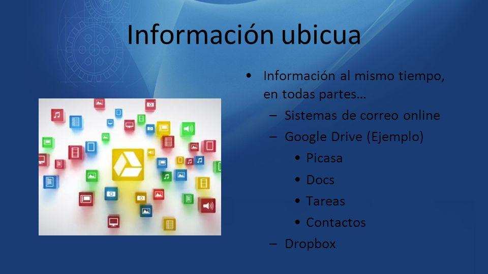 Información ubicua Información al mismo tiempo, en todas partes… –Sistemas de correo online –Google Drive (Ejemplo) Picasa Docs Tareas Contactos –Drop