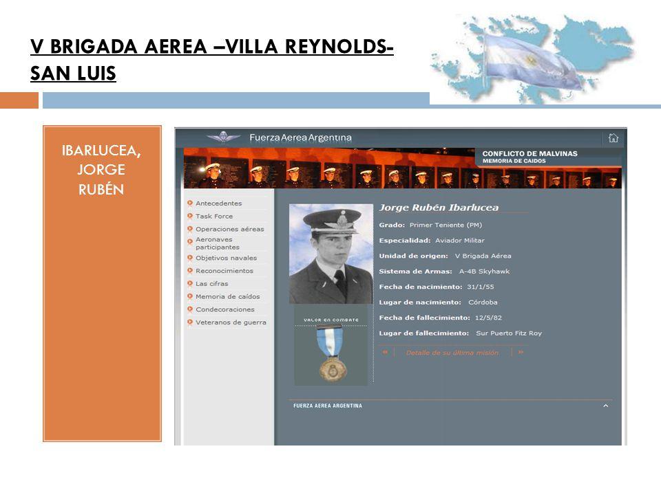 IBARLUCEA, JORGE RUBÉN V BRIGADA AEREA –VILLA REYNOLDS- SAN LUIS