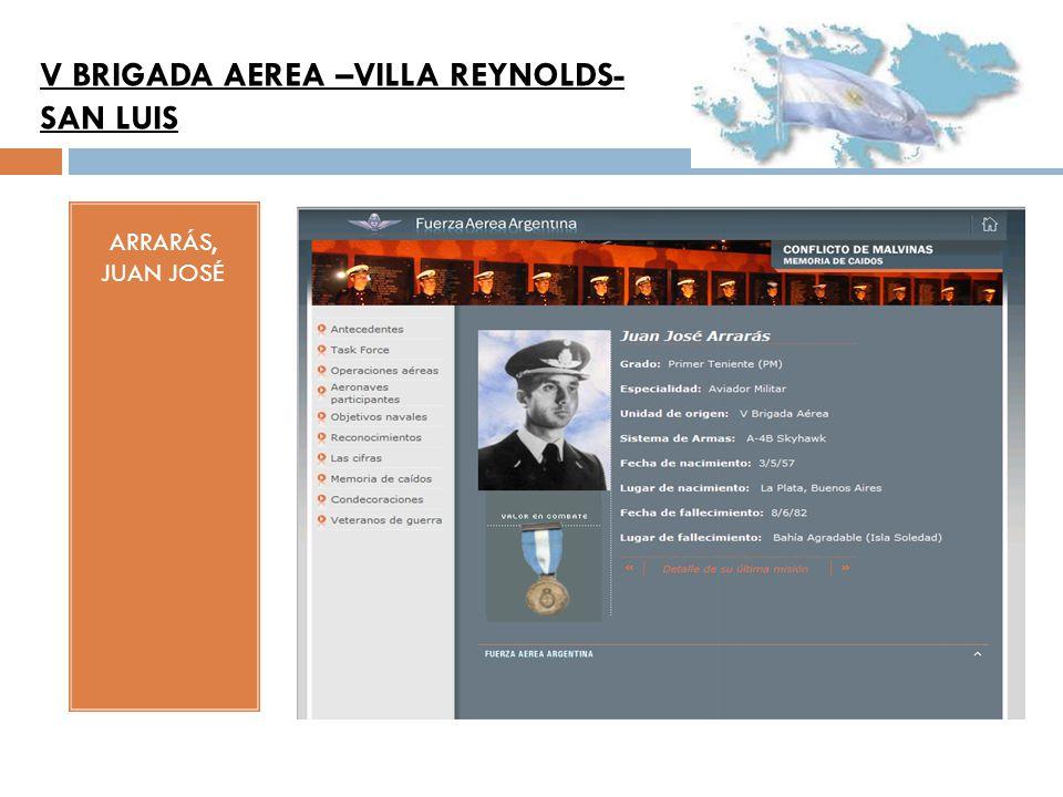 ARRARÁS, JUAN JOSÉ V BRIGADA AEREA –VILLA REYNOLDS- SAN LUIS