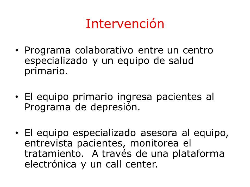Intervención Programa colaborativo entre un centro especializado y un equipo de salud primario. El equipo primario ingresa pacientes al Programa de de