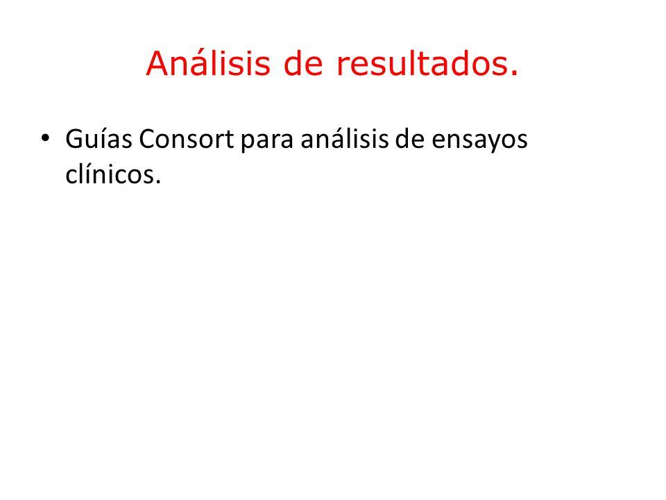 Análisis de resultados. Guías Consort para análisis de ensayos clínicos.