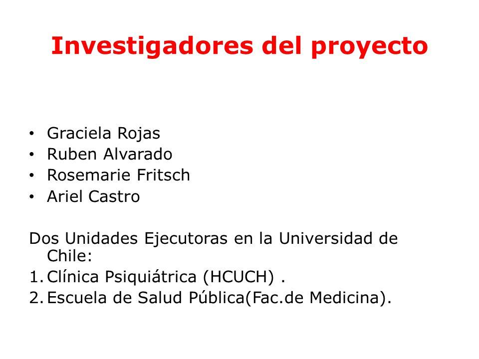 Investigadores del proyecto Graciela Rojas Ruben Alvarado Rosemarie Fritsch Ariel Castro Dos Unidades Ejecutoras en la Universidad de Chile: 1.Clínica