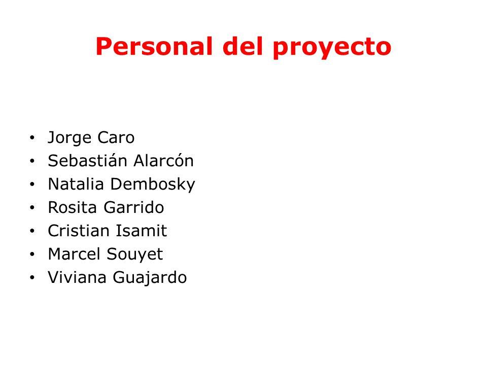 Personal del proyecto Jorge Caro Sebastián Alarcón Natalia Dembosky Rosita Garrido Cristian Isamit Marcel Souyet Viviana Guajardo