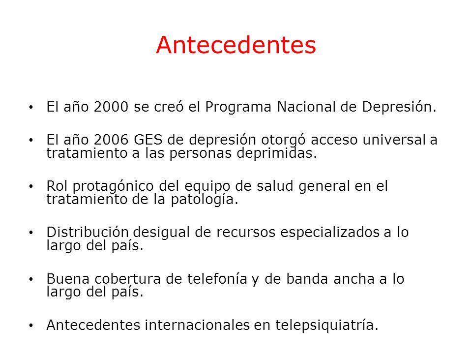 Antecedentes El año 2000 se creó el Programa Nacional de Depresión. El año 2006 GES de depresión otorgó acceso universal a tratamiento a las personas