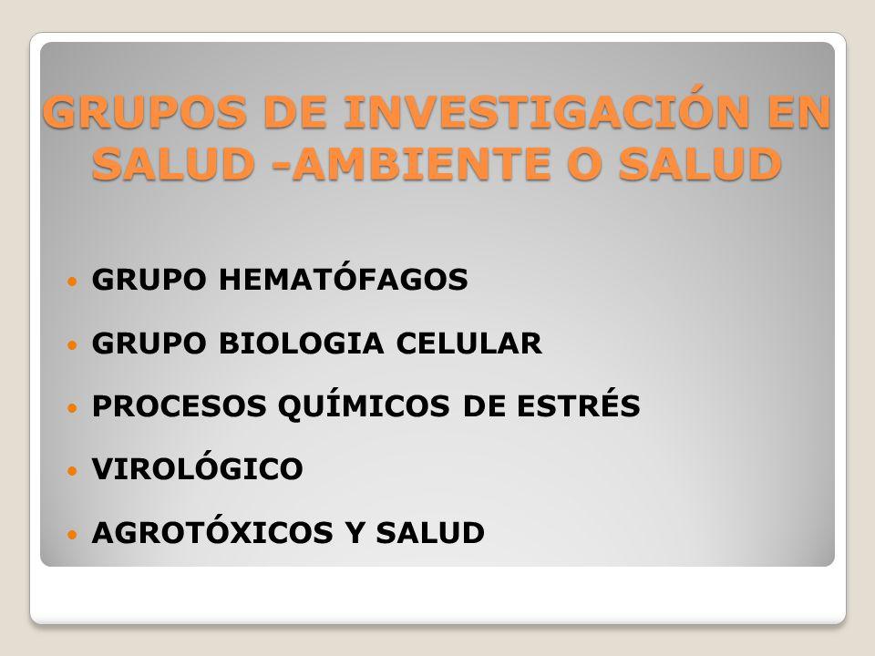 GRUPOS DE INVESTIGACIÓN EN SALUD -AMBIENTE O SALUD GRUPO HEMATÓFAGOS GRUPO BIOLOGIA CELULAR PROCESOS QUÍMICOS DE ESTRÉS VIROLÓGICO AGROTÓXICOS Y SALUD