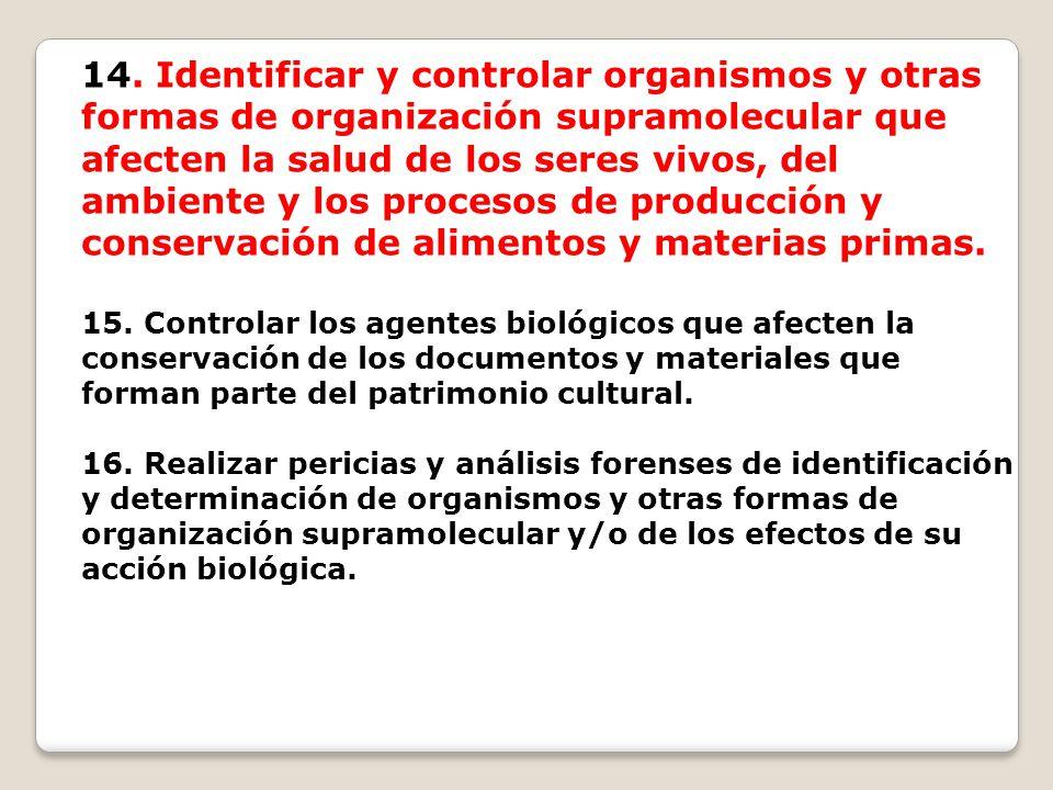 14. Identificar y controlar organismos y otras formas de organización supramolecular que afecten la salud de los seres vivos, del ambiente y los proce