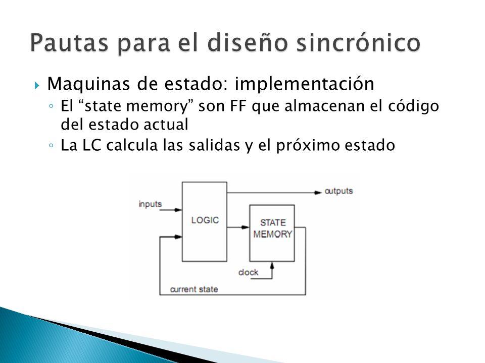 Maquinas de estado: implementación El state memory son FF que almacenan el código del estado actual La LC calcula las salidas y el próximo estado