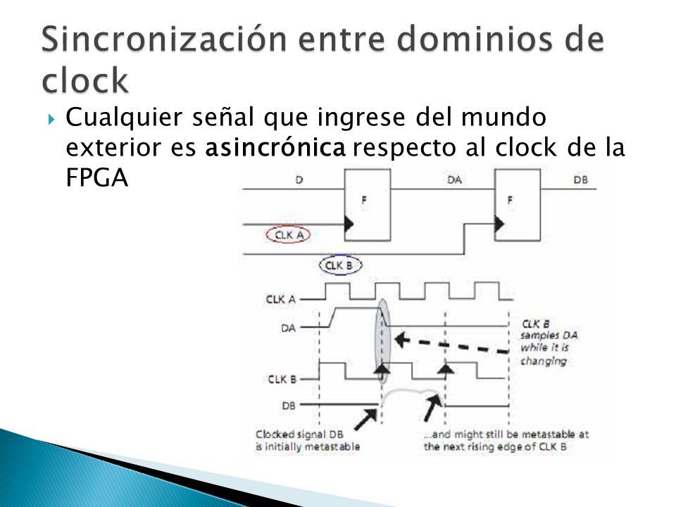 Cualquier señal que ingrese del mundo exterior es asincrónica respecto al clock de la FPGA