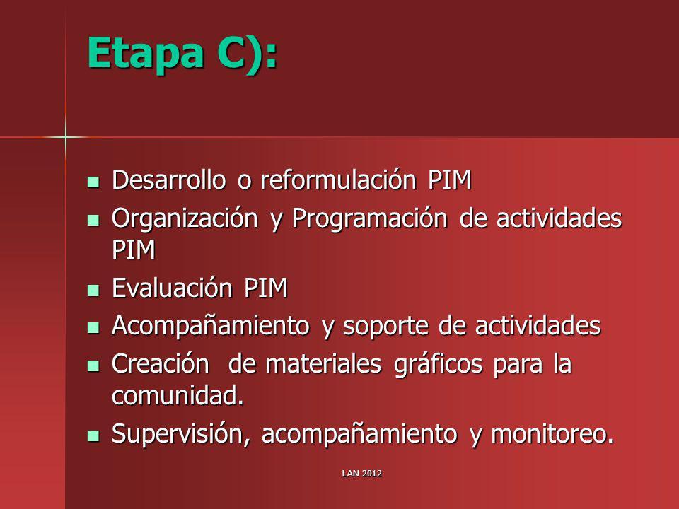 Etapa C): Desarrollo o reformulación PIM Desarrollo o reformulación PIM Organización y Programación de actividades PIM Organización y Programación de