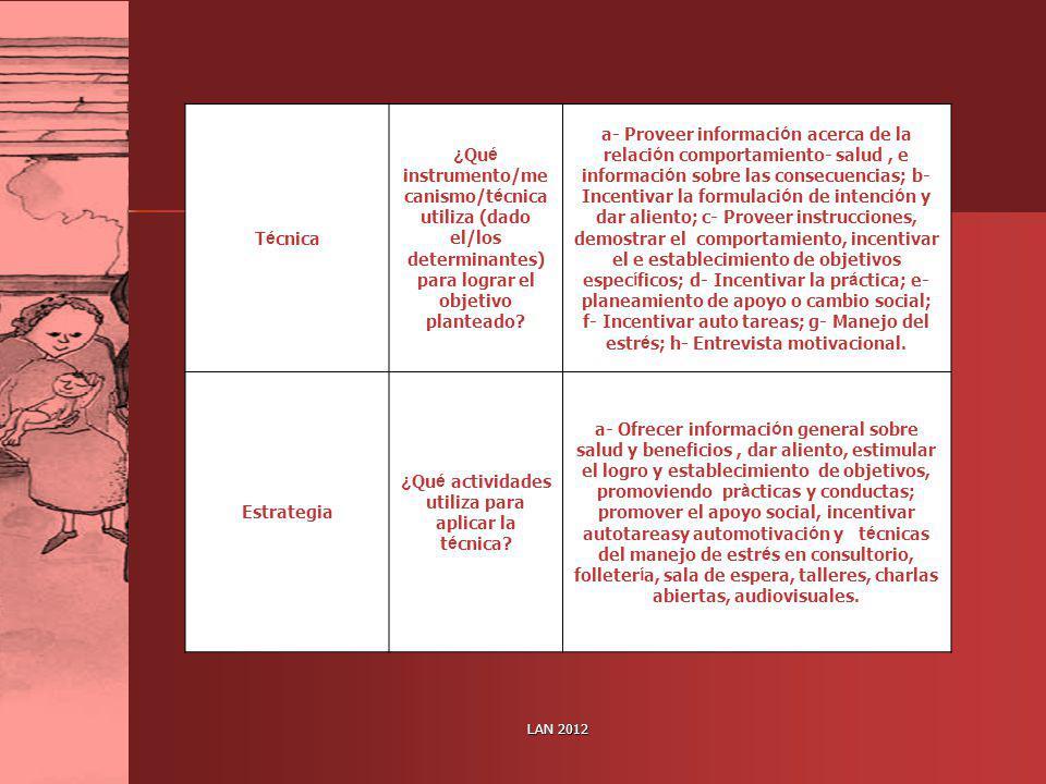 LAN 2012 T é cnica ¿ Qu é instrumento/me canismo/t é cnica utiliza (dado el/los determinantes) para lograr el objetivo planteado? a- Proveer informaci