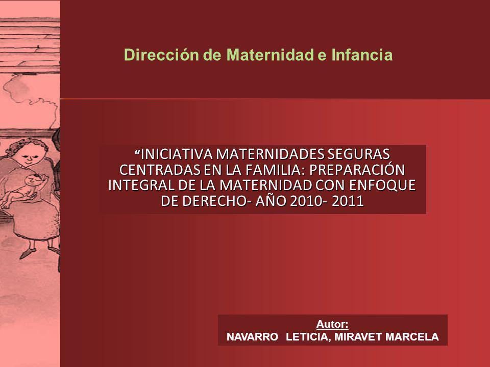 LAN 2012 INICIATIVA MATERNIDADES SEGURAS CENTRADAS EN LA FAMILIA: PREPARACIÓN INTEGRAL DE LA MATERNIDAD CON ENFOQUE DE DERECHO- AÑO 2010- 2011 INICIAT