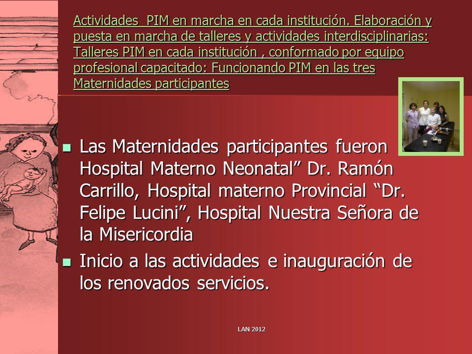 LAN 2012 Actividades PIM en marcha en cada institución. Elaboración y puesta en marcha de talleres y actividades interdisciplinarias: Talleres PIM en
