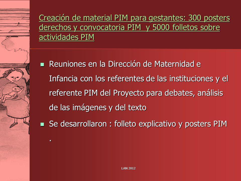 LAN 2012 Creación de material PIM para gestantes: 300 posters derechos y convocatoria PIM y 5000 folletos sobre actividades PIM Reuniones en la Direcc