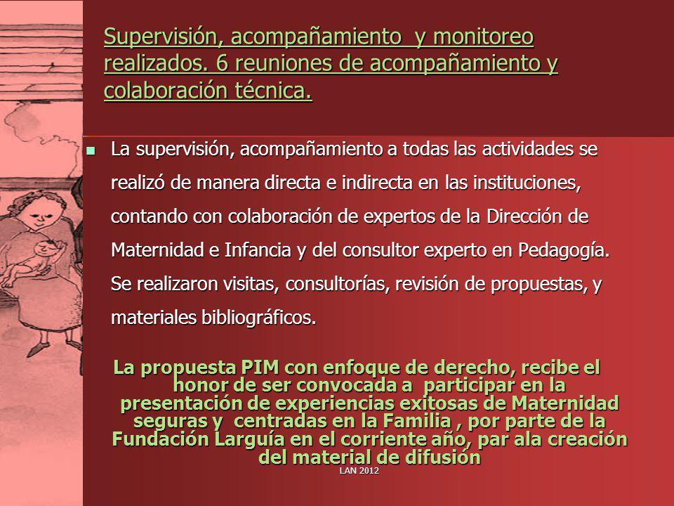 Supervisión, acompañamiento y monitoreo realizados. 6 reuniones de acompañamiento y colaboración técnica. La supervisión, acompañamiento a todas las a