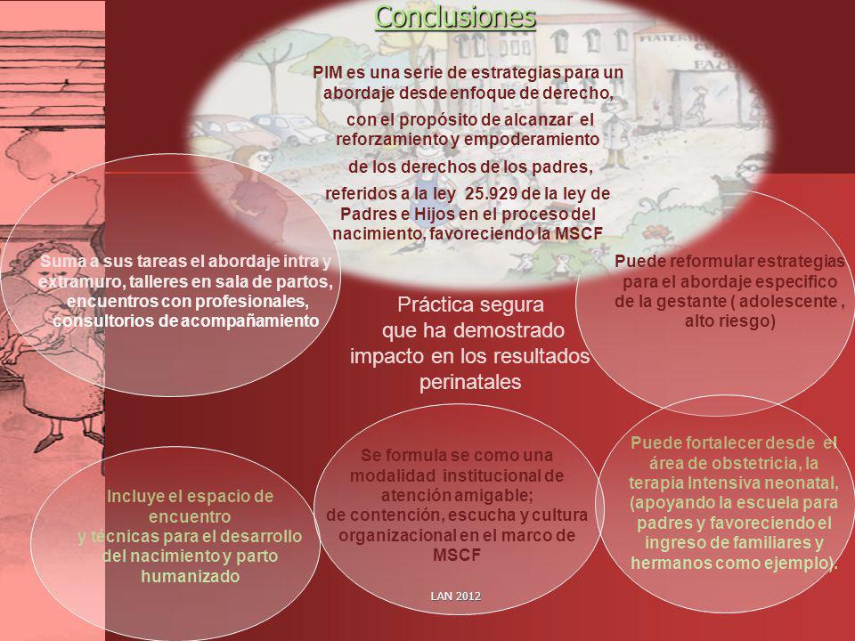 LAN 2012Conclusiones PIM es una serie de estrategias para un abordaje desde enfoque de derecho, con el propósito de alcanzar el reforzamiento y empode