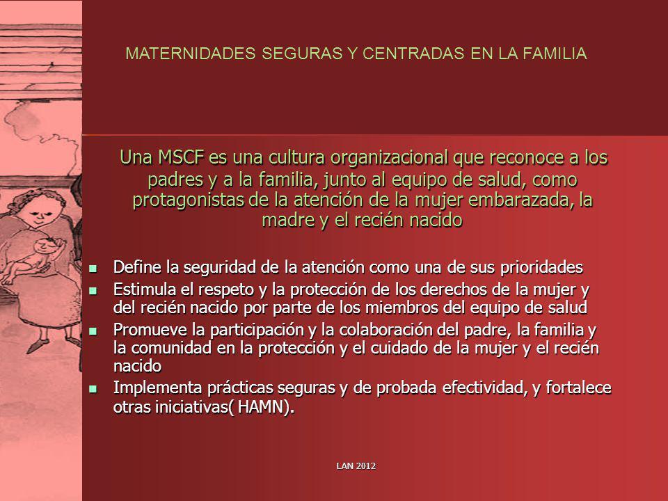 LAN 2012 Una MSCF es una cultura organizacional que reconoce a los padres y a la familia, junto al equipo de salud, como protagonistas de la atención