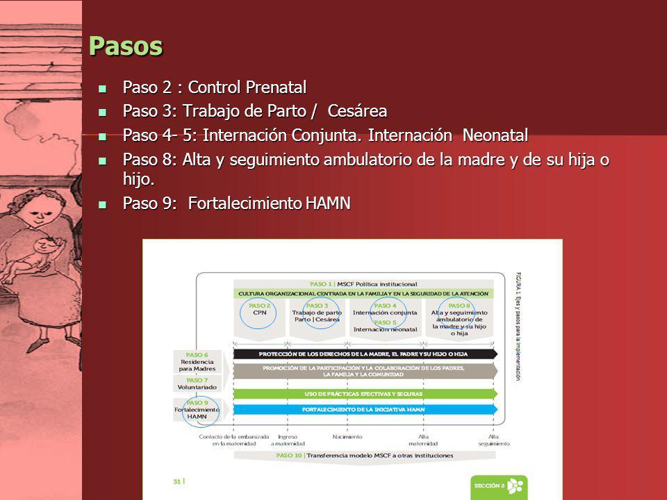 LAN 2012 Pasos Paso 2 : Control Prenatal Paso 2 : Control Prenatal Paso 3: Trabajo de Parto / Cesárea Paso 3: Trabajo de Parto / Cesárea Paso 4- 5: In