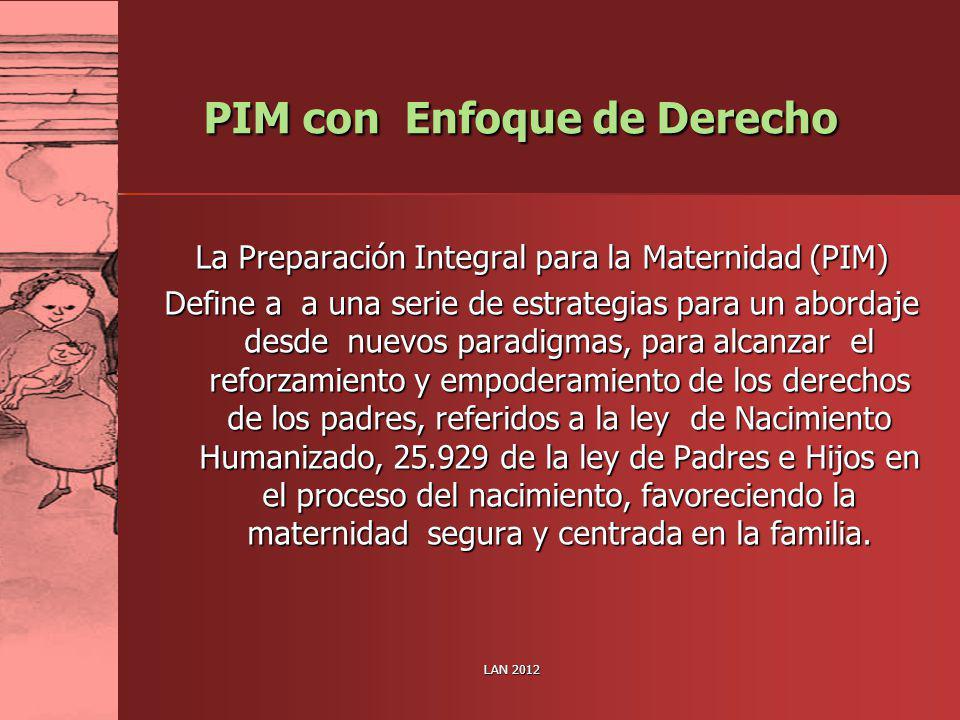 LAN 2012 PIM con Enfoque de Derecho La Preparación Integral para la Maternidad (PIM) Define a a una serie de estrategias para un abordaje desde nuevos