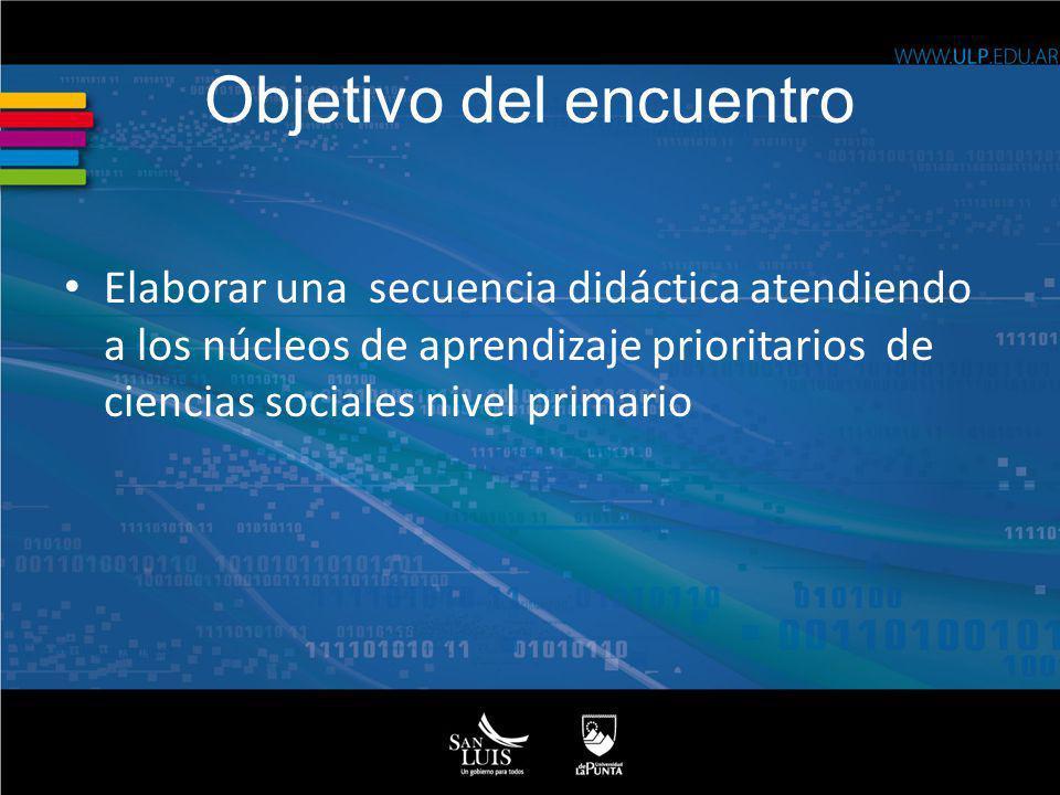 Objetivo del encuentro Elaborar una secuencia didáctica atendiendo a los núcleos de aprendizaje prioritarios de ciencias sociales nivel primario