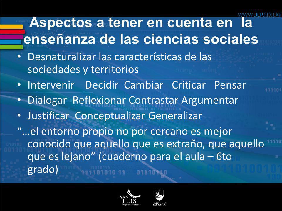 Aspectos a tener en cuenta en la enseñanza de las ciencias sociales Desnaturalizar las características de las sociedades y territorios Intervenir Deci