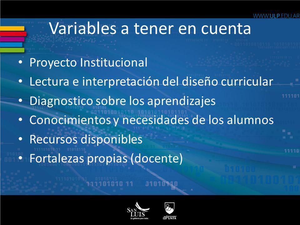 Variables a tener en cuenta Proyecto Institucional Lectura e interpretación del diseño curricular Diagnostico sobre los aprendizajes Conocimientos y n
