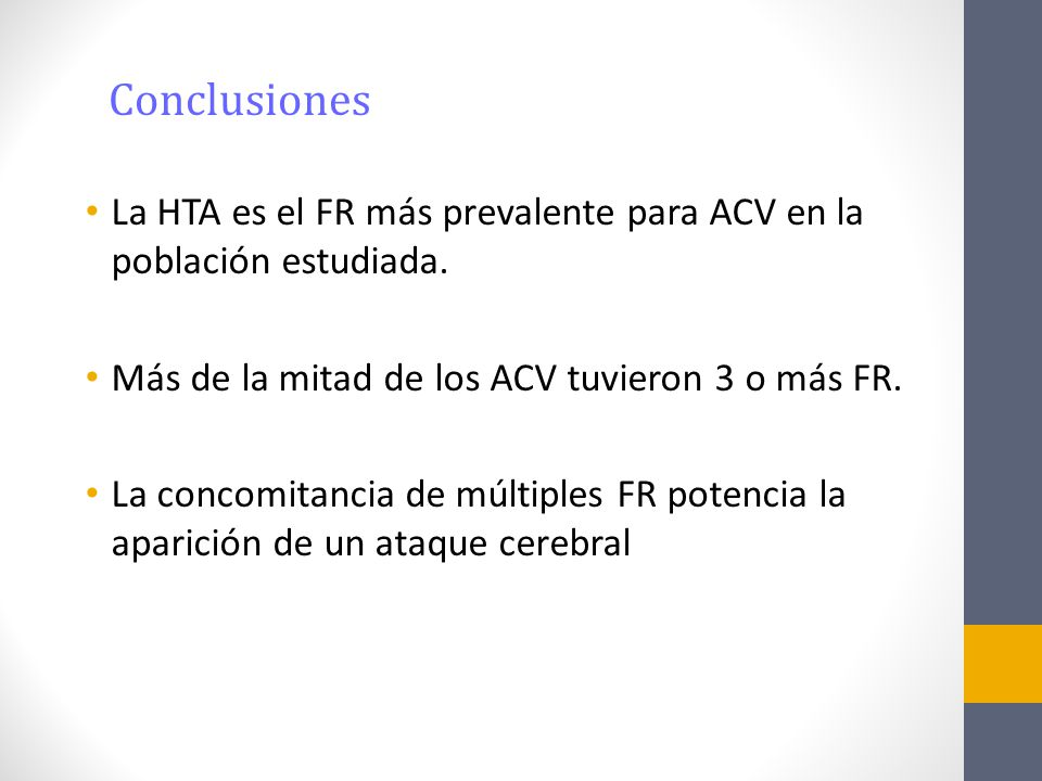 La HTA es el FR más prevalente para ACV en la población estudiada. Más de la mitad de los ACV tuvieron 3 o más FR. La concomitancia de múltiples FR po