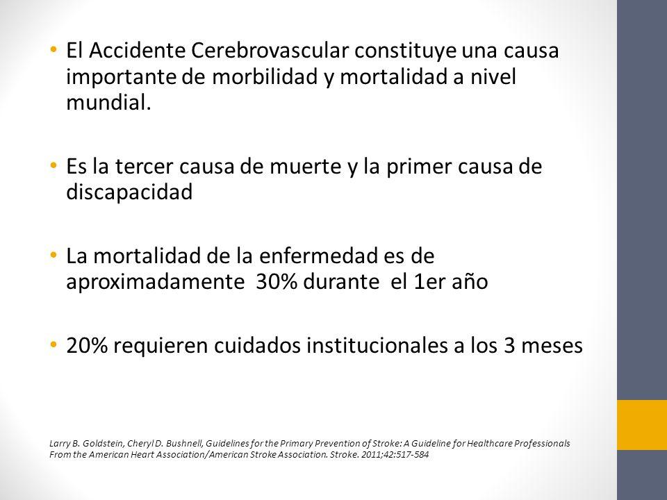 El Accidente Cerebrovascular constituye una causa importante de morbilidad y mortalidad a nivel mundial.