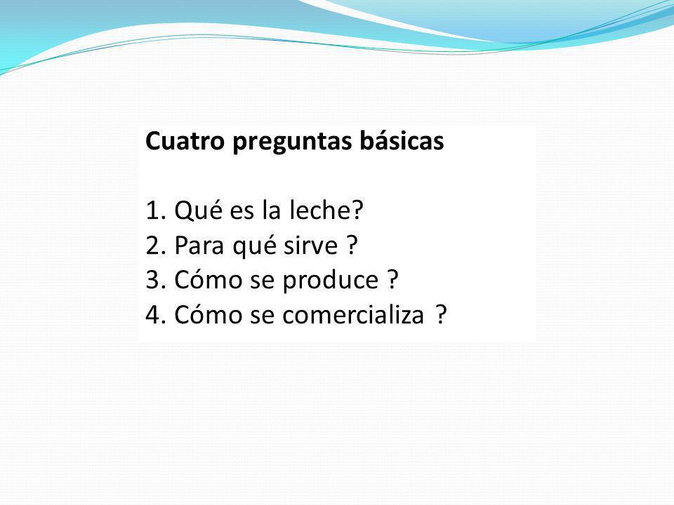 Cuatro preguntas básicas 1. Qué es la leche? 2. Para qué sirve ? 3. Cómo se produce ? 4. Cómo se comercializa ?