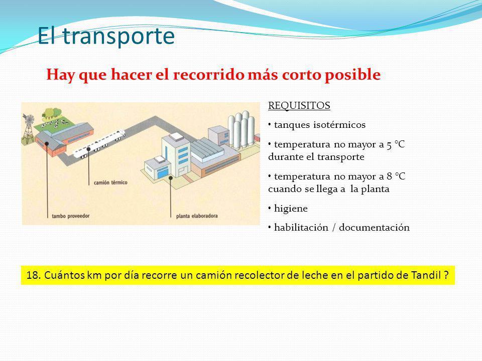 El transporte REQUISITOS tanques isotérmicos temperatura no mayor a 5 °C durante el transporte temperatura no mayor a 8 °C cuando se llega a la planta higiene habilitación / documentación Hay que hacer el recorrido más corto posible 18.