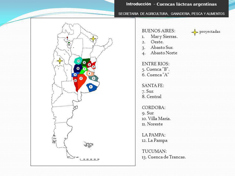 BUENOS AIRES: 1.Mar y Sierras. 2.Oeste. 3.Abasto Sur. 4.Abasto Norte ENTRE RIOS: 5. Cuenca