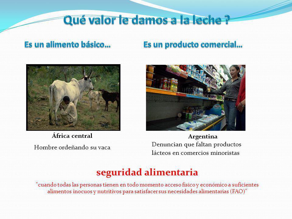 África central Hombre ordeñando su vaca Argentina Denuncian que faltan productos lácteos en comercios minoristas seguridad alimentaria cuando todas las personas tienen en todo momento acceso físico y económico a suficientes alimentos inocuos y nutritivos para satisfacer sus necesidades alimentarias (FAO)