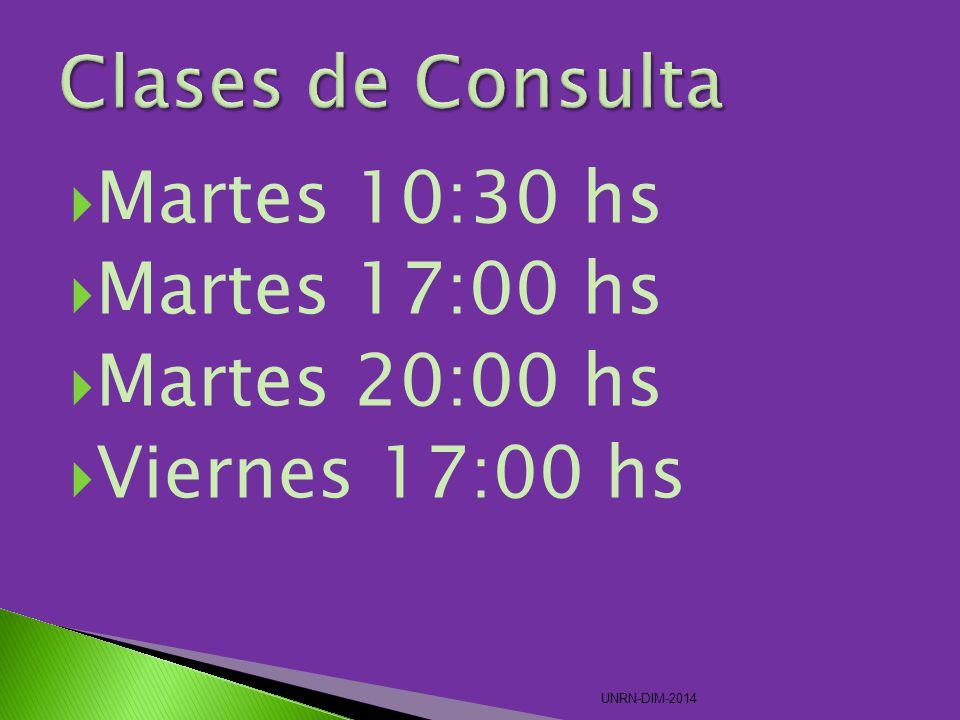 Martes 10:30 hs Martes 17:00 hs Martes 20:00 hs Viernes 17:00 hs