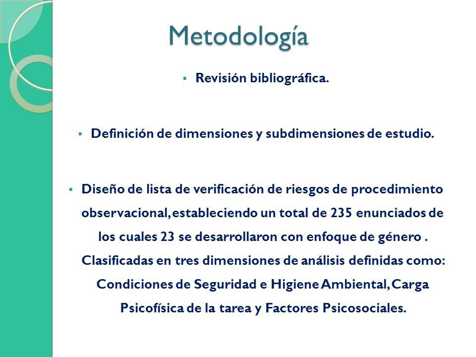Metodología Metodología Revisión bibliográfica. Definición de dimensiones y subdimensiones de estudio. Diseño de lista de verificación de riesgos de p