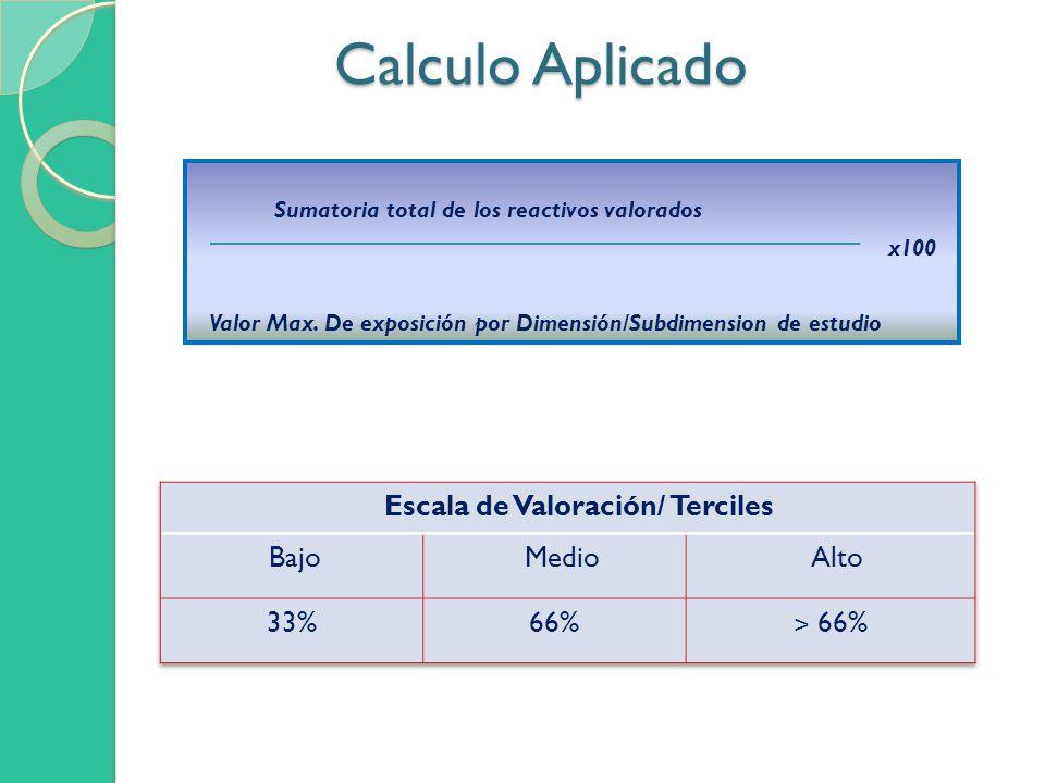 Calculo Aplicado Calculo Aplicado Sumatoria total de los reactivos valorados x100 Valor Max. De exposición por Dimensión/Subdimension de estudio