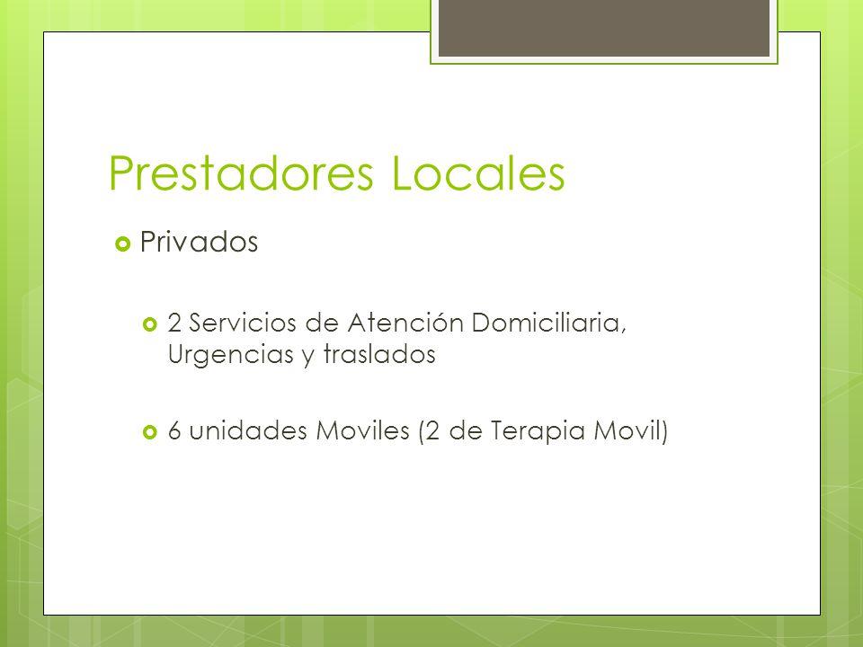Prestadores Locales Privados 2 Servicios de Atención Domiciliaria, Urgencias y traslados 6 unidades Moviles (2 de Terapia Movil)