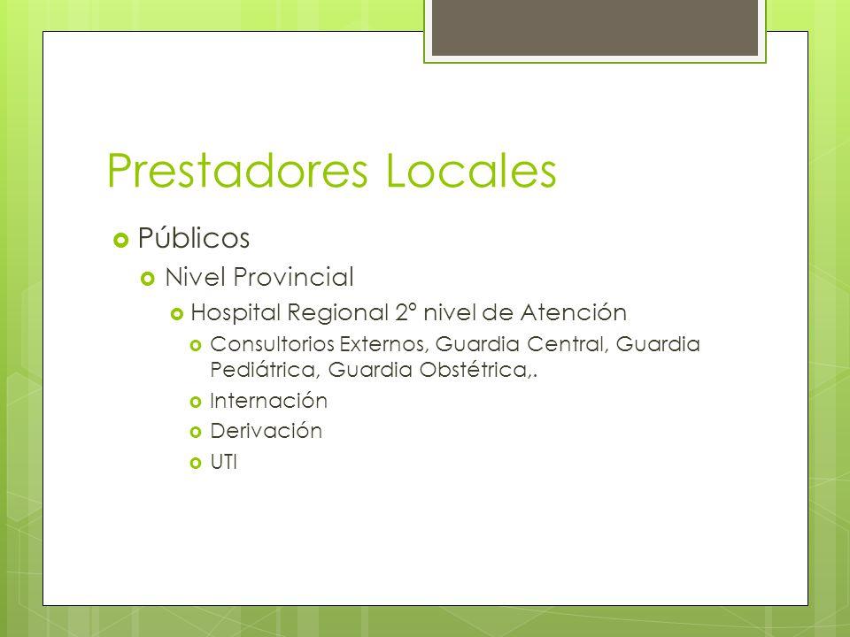 Prestadores Locales Públicos Nivel Provincial Hospital Regional 2º nivel de Atención Consultorios Externos, Guardia Central, Guardia Pediátrica, Guardia Obstétrica,.