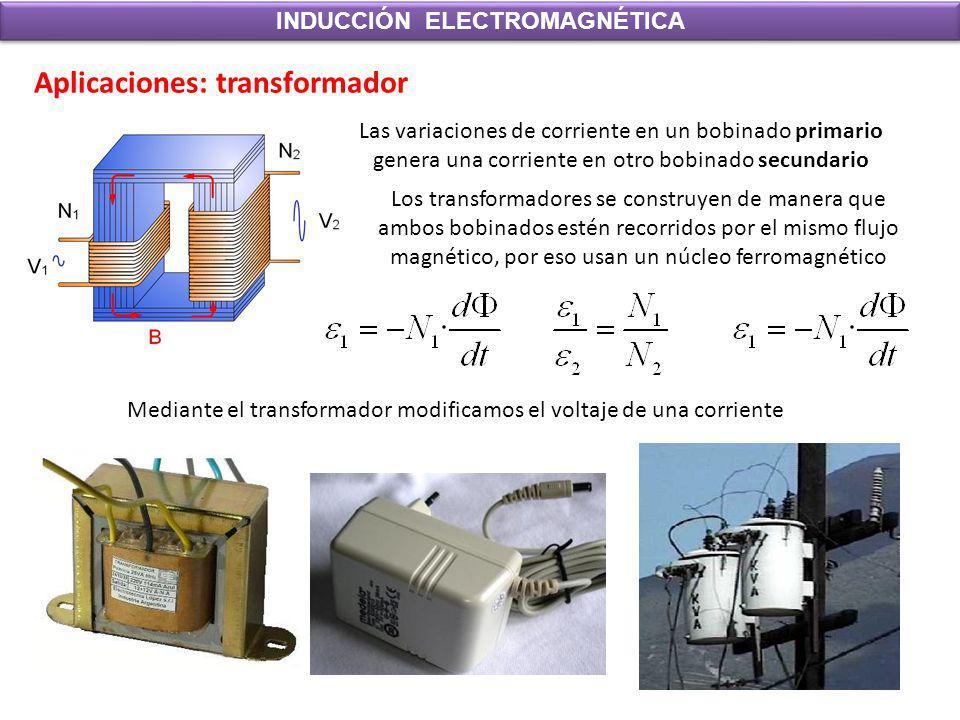 INDUCCIÓN ELECTROMAGNÉTICA Aplicaciones: transformador Las variaciones de corriente en un bobinado primario genera una corriente en otro bobinado secu