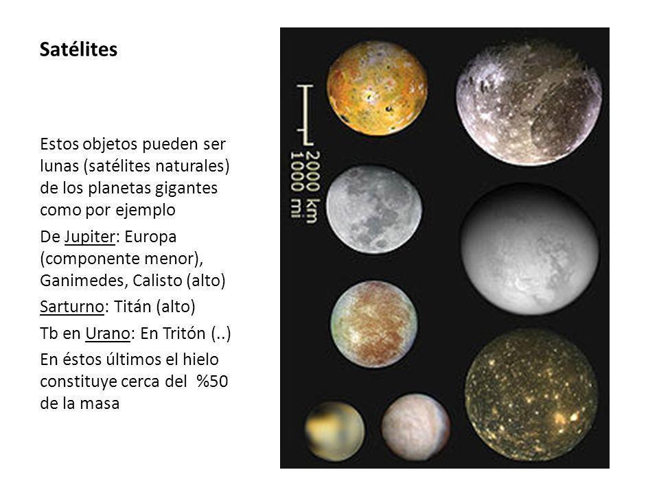 Satélites Estos objetos pueden ser lunas (satélites naturales) de los planetas gigantes como por ejemplo De Jupiter: Europa (componente menor), Ganimedes, Calisto (alto) Sarturno: Titán (alto) Tb en Urano: En Tritón (..) En éstos últimos el hielo constituye cerca del %50 de la masa