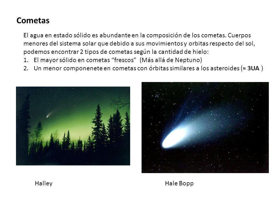 Cometas El agua en estado sólido es abundante en la composición de los cometas. Cuerpos menores del sistema solar que debido a sus movimientos y orbit