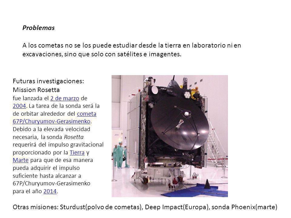 Problemas A los cometas no se los puede estudiar desde la tierra en laboratorio ni en excavaciones, sino que solo con satélites e imagentes.