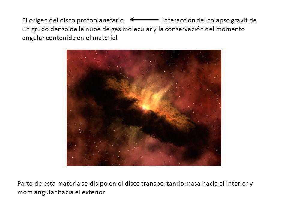 El origen del disco protoplanetario interacción del colapso gravit de un grupo denso de la nube de gas molecular y la conservación del momento angular contenida en el material Parte de esta materia se disipo en el disco transportando masa hacia el interior y mom angular hacia el exterior