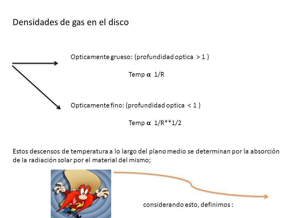 Densidades de gas en el disco Opticamente grueso: (profundidad optica > 1 ) Temp α 1/R Opticamente fino: (profundidad optica < 1 ) Temp α 1/R**1/2 Est